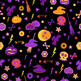 Halloween symbols on black background.