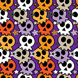 Seamless colorful background with skulls.