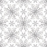 Christmas pattern with vintage silver snowflakes