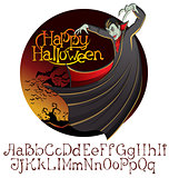 Halloween font set and Vector Vampire Dracula