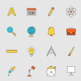 School education flat line icons