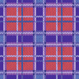 Seamless knitted pattern in violet, blue and terracotta light co