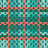 Seamless knitted pattern in green, turquoise and terracotta hues