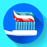 Toothbrush with toothpaste Icon flat style. Tricolor and shining sparkles