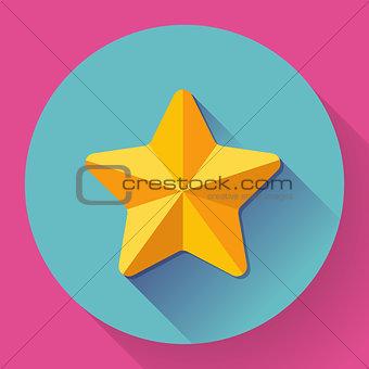 Single golden star shine. Flat designed style.