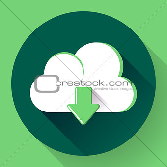 Green Cloud download icon. Flat design style