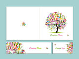 Business card collection, abstract floral tree design