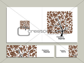Business card collection, abstract square tree design