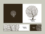Business card collection, abstract tree design