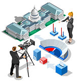 Election Infographic Us Capitol Vector Isometric Building