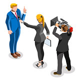 Election News Infographic Latest Pools Vector Isometric People
