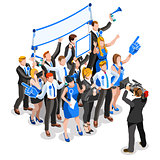 Election News Infographic Party Rally Crowd Vector Isometric Peo