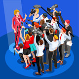 Election News Infographic Spokesperson Vector Isometric People