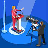 Election News Infographic Us Spokesperson Vector Isometric Peopl
