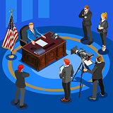 President Desk Vector Isometric People