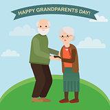Happy grandparents in vector cartoon illustration