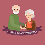 Happy grandparents in vector cartoon illustration