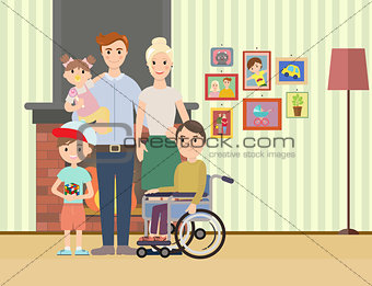 Portrait of happy family with special needs child