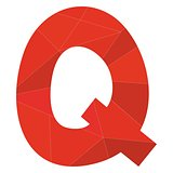 Q red alphabet vector letter isolated on white background