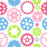 Machine Gear Wheel Cogwheel Seamless Pattern Background. Vector
