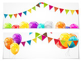 Color Glossy Balloons Card Set Background Vector Illustration
