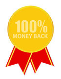 Gold Label 100% Money back. Vector Illustration