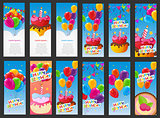 Happy Birthday Card Template with Balloons, Cake with Candle Vec