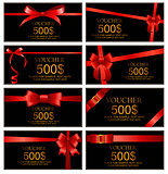Gift Voucher with Red Bow and Ribbon Set Template For Your Busin