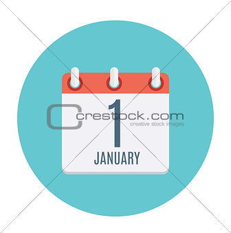 First January Dates Flat Icon. Vector Illustration