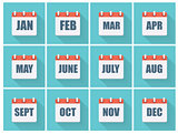 Month Dates Flat Icon Set with Long Shadow. Vector Illustration