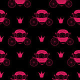 Princess Cinderella Fairytale Carriage. Seamless Pattern Backgro