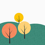 Simple Autumn Tree Background Vector Illustration
