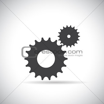 Flat Gear Icon. Cooperation and Teamwork Concept. Vector Illustr