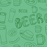 Oktoberfest seamless pattern. Hand drawn illustrations.