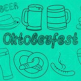 Oktoberfest seamless pattern. Hand drawn illustrations.