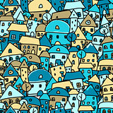 Colorful city, seamless pattern for your design