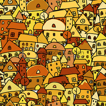 Autumn city, seamless pattern for your design