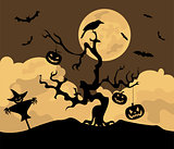 Halloween holiday graphic template. Flat icons