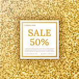 Sale vector flyer with a gold