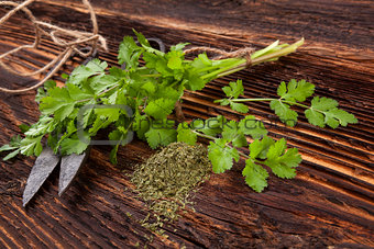Fresh and dry coriander herb.
