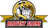 Organic Farmer Harvest Farms Circle Retro