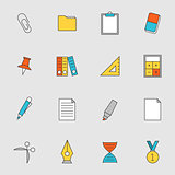 School education flat line icons vol 2