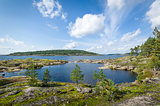 Panoramic view of Ladoga lake islands.
