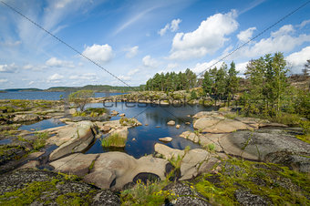 Beautiful rocky shores of Ladoga lake islands, Karelia.