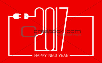 2017 Happy New Year Flat Style Background