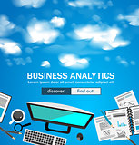Flat Style Design Concepts for business analytics and winning strategy