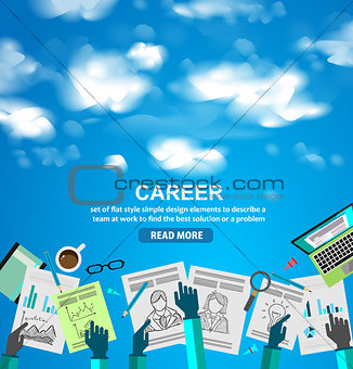 Career in Business concept  with Doodle design style