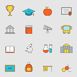 School education flat line icons vol 3
