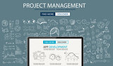 Project Management concept with Doodle design style :people inteview