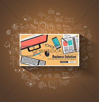Business Solutions concept wih Doodle design style